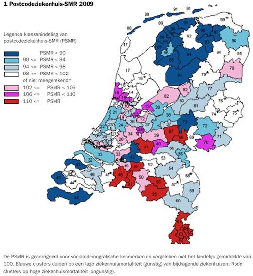 Ziekenhuissterfte varieert per provincie, Nederlandkaart