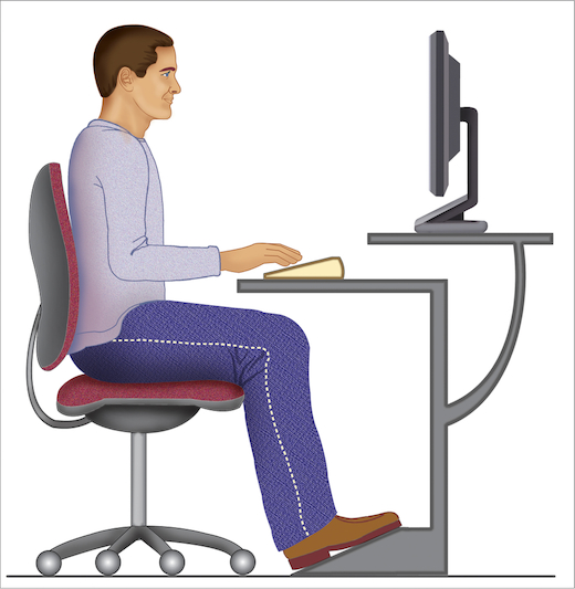 Man achter computer, zithouding