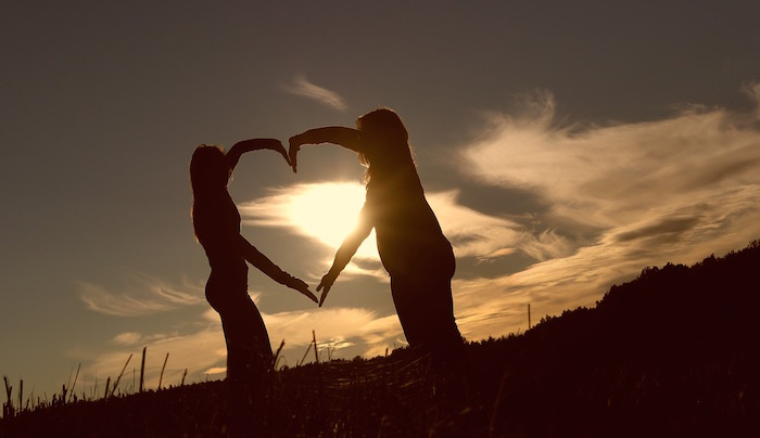 liefdeshart zonsondergang