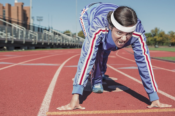 vrouw, atletiek, start