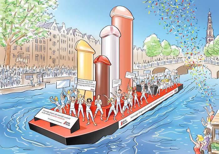 Piemelboot Aids Fonds Canal Parade 2015