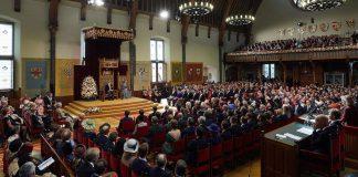 Overzichtsfoto van de Ridderzaal op het moment dat de troonrede wordt uitgesproken. Fotograaf: Martijn Beekman.