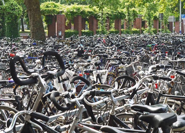 fietsenrek met veel fietsen