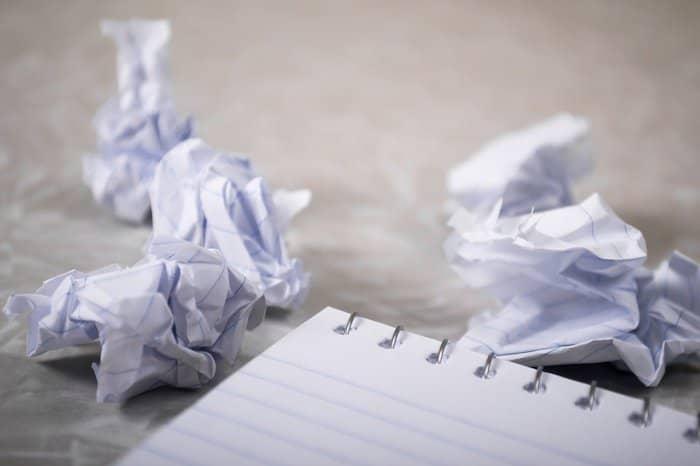 papieren afval, verkreukeld schrijfpapier